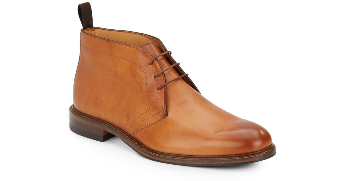 saks fifth avenue leather chukka boots in brown for lyst