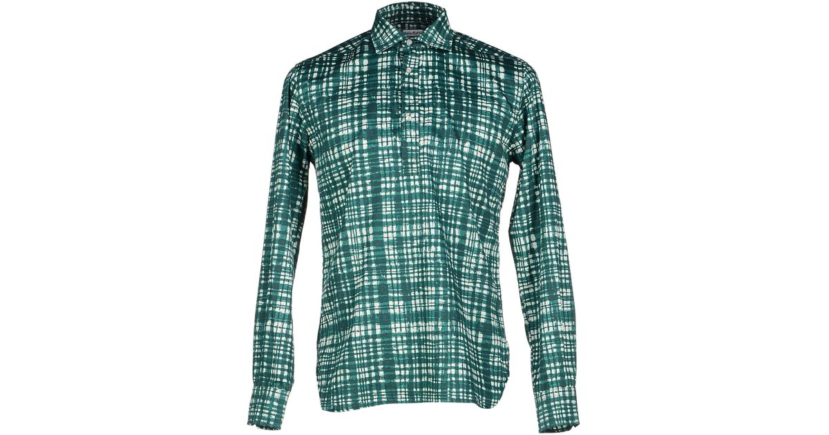 Alain shirt in green for men emerald green lyst Emerald green mens dress shirt