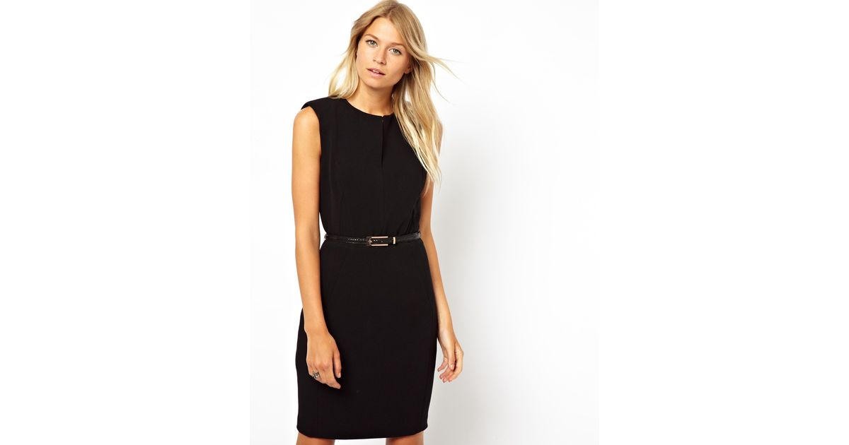 Lyst Mango Structured Belted Pencil Dress In Black
