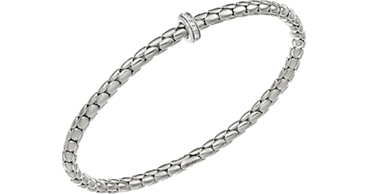Lyst Chimento 18k White Gold Stretch Spring Collection Disc Rope Bracelet With Diamonds In Metallic