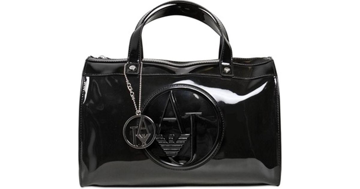 Lyst - Armani Jeans Embossed Logo Patent Vinyl Bag in Black 34914c1512900