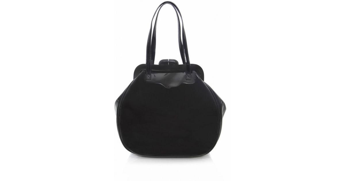 Lyst - Lulu Guinness Large Patent Pollyanna Bag in Black 9e4a5e49eb990
