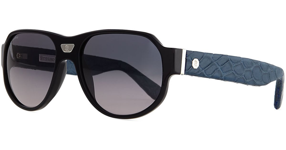 02cebe6960d Lyst - Stefano Ricci Sunglasses With Crocodile Arms in Black for Men