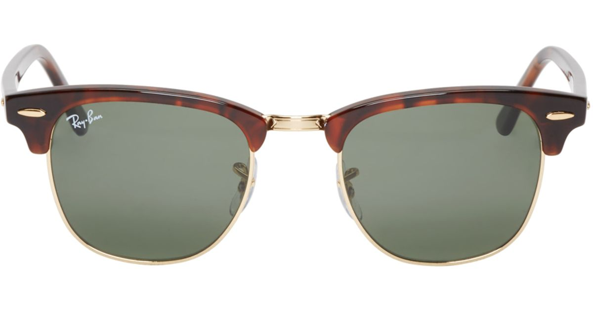 dc5cad185a3 Lyst - Ray-Ban Brown Tortoiseshell Clubmaster Sunglasses in Brown for Men