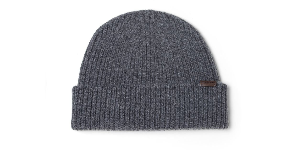 6e5964e71ff Lyst - Burberry Wool   Cashmere Beanie Hat in Gray for Men