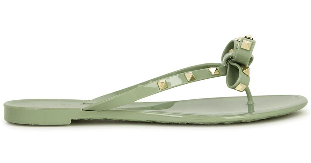 valentino rockstud mint flip flops in green lyst. Black Bedroom Furniture Sets. Home Design Ideas