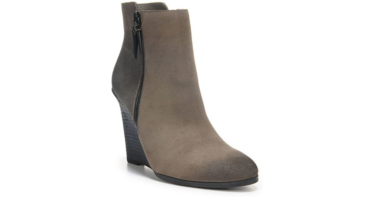 fergie suede wedge ankle boots in brown lyst
