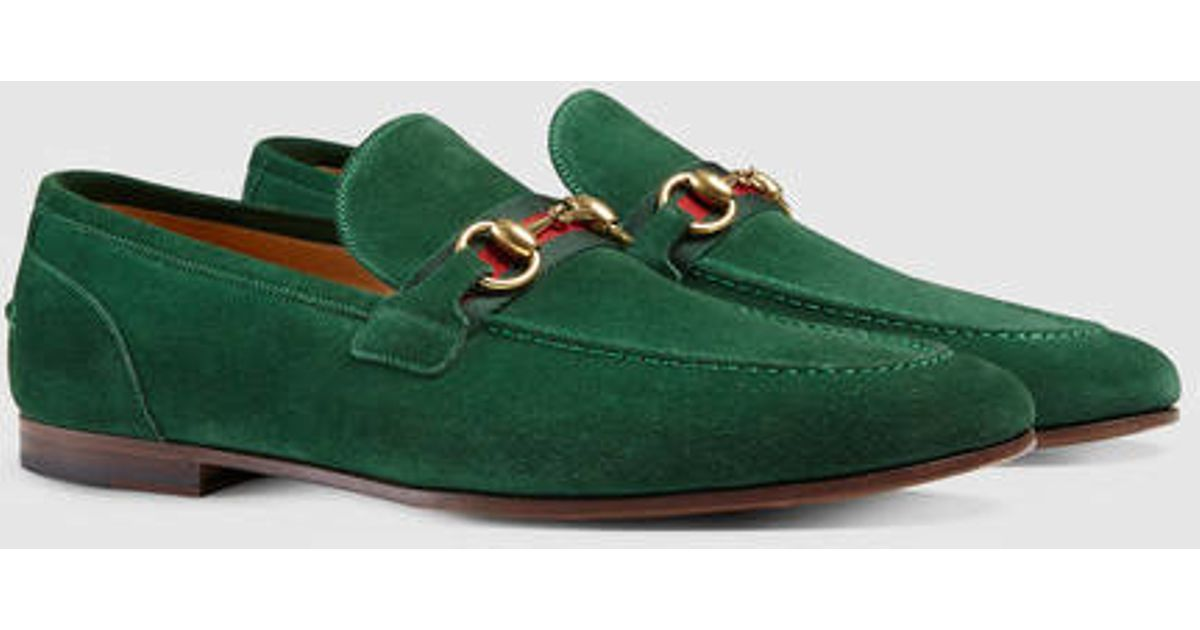 Gucci Horsebit Suede Loafer With Web In Green For Men
