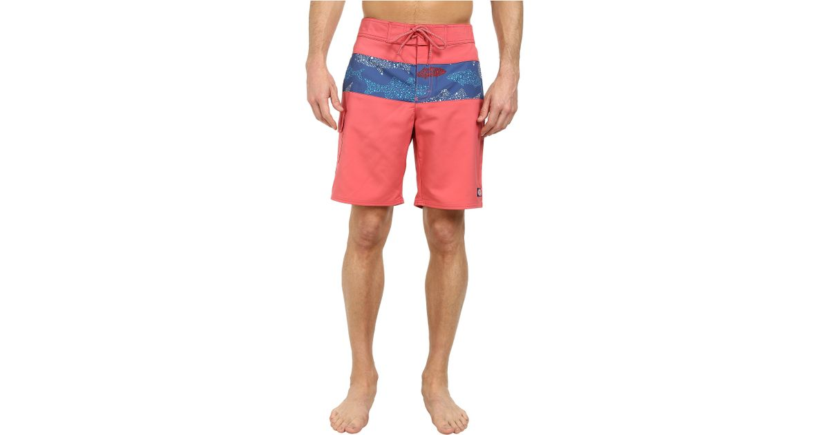 Vineyard vines pieced fish dots boardshorts in red for men for Fishing board shorts