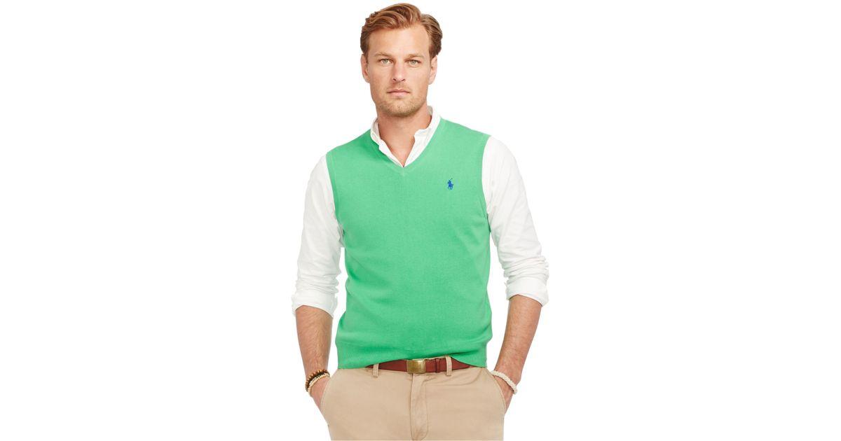 Orig $79 Polo Ralph Lauren Pima Cotton V Neck Black Sweater Vest Mens S