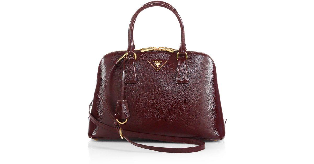 d98368cb Prada Brown Saffiano Vernice Small Promenade Bag