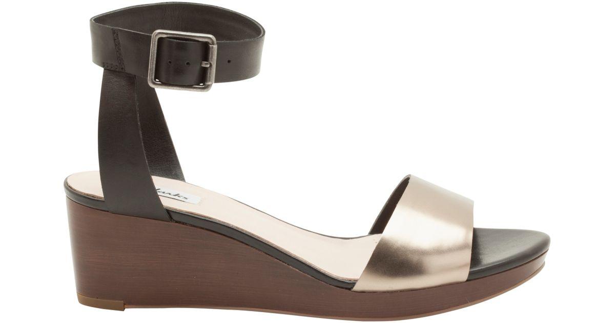 c14460927 Clarks Ornate Jewel Wedge Sandals in Black - Lyst