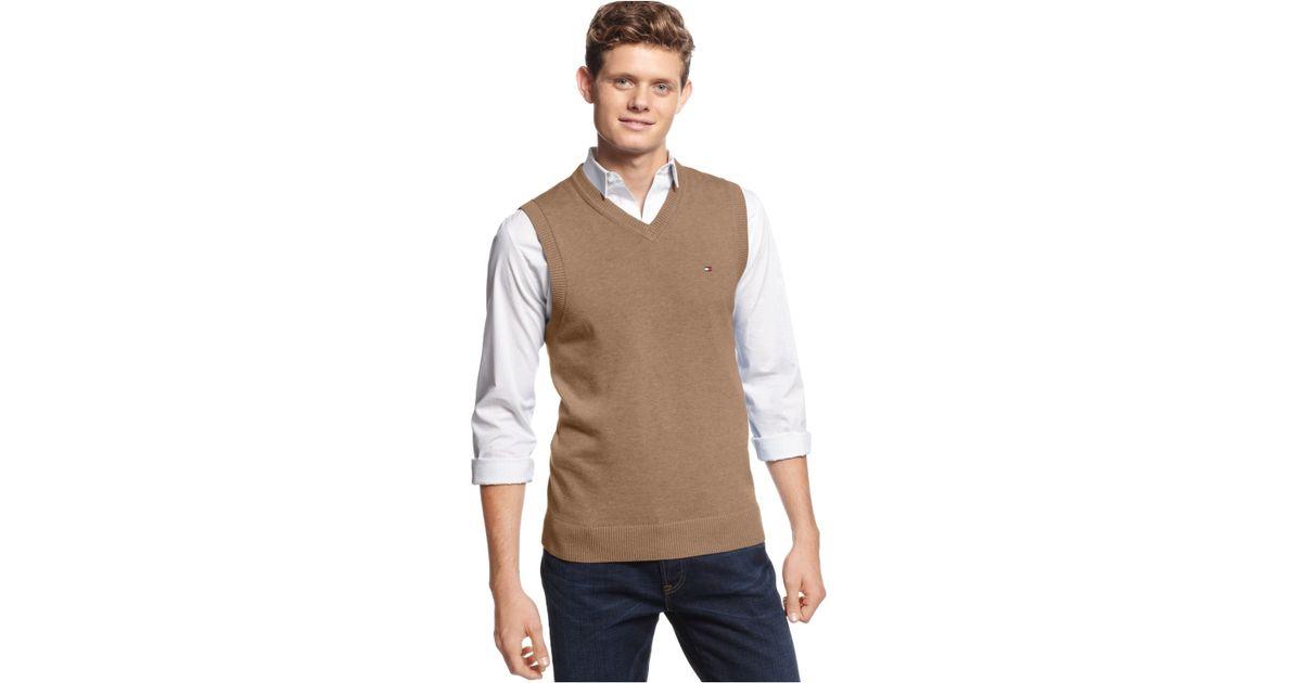 Tommy hilfiger Signature V-Neck Sweater Vest in Brown for Men | Lyst