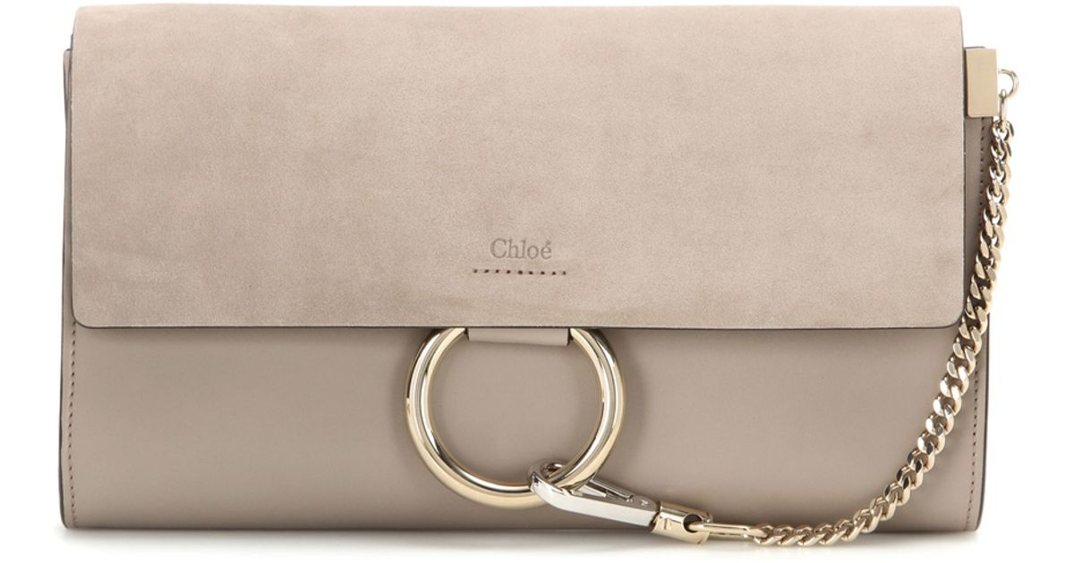 Chlo�� Faye Suede And Leather Clutch in Beige (grey) | Lyst