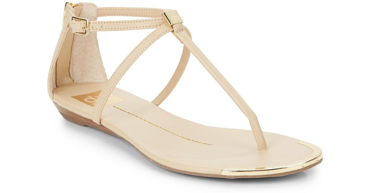 7ce89973c019bb Lyst - Dv By Dolce Vita Alya Faux Leather Flat Sandals in Natural