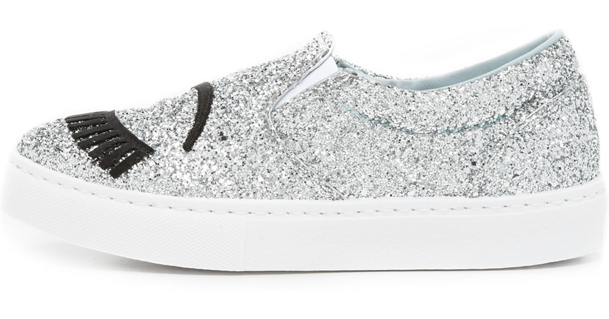 cbba68ac37c5 Lyst - Chiara Ferragni Glitter Eyes Slip On Sneakers in Metallic