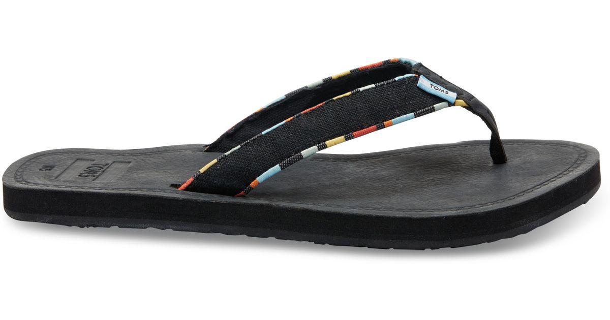 767691921a2 TOMS Black Burlap Multi Trim Women s Solana Flip-flops in Black - Lyst