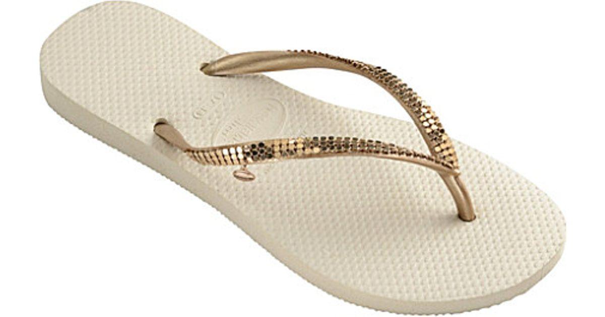 2dc4b08dcb33 Havaianas Sequin-embellished Flip Flops in Metallic - Lyst