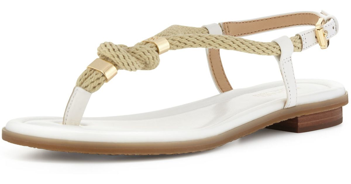 9614f8c6abc5 Lyst - MICHAEL Michael Kors Holly Knotted Rope Flat Thong Sandal in White