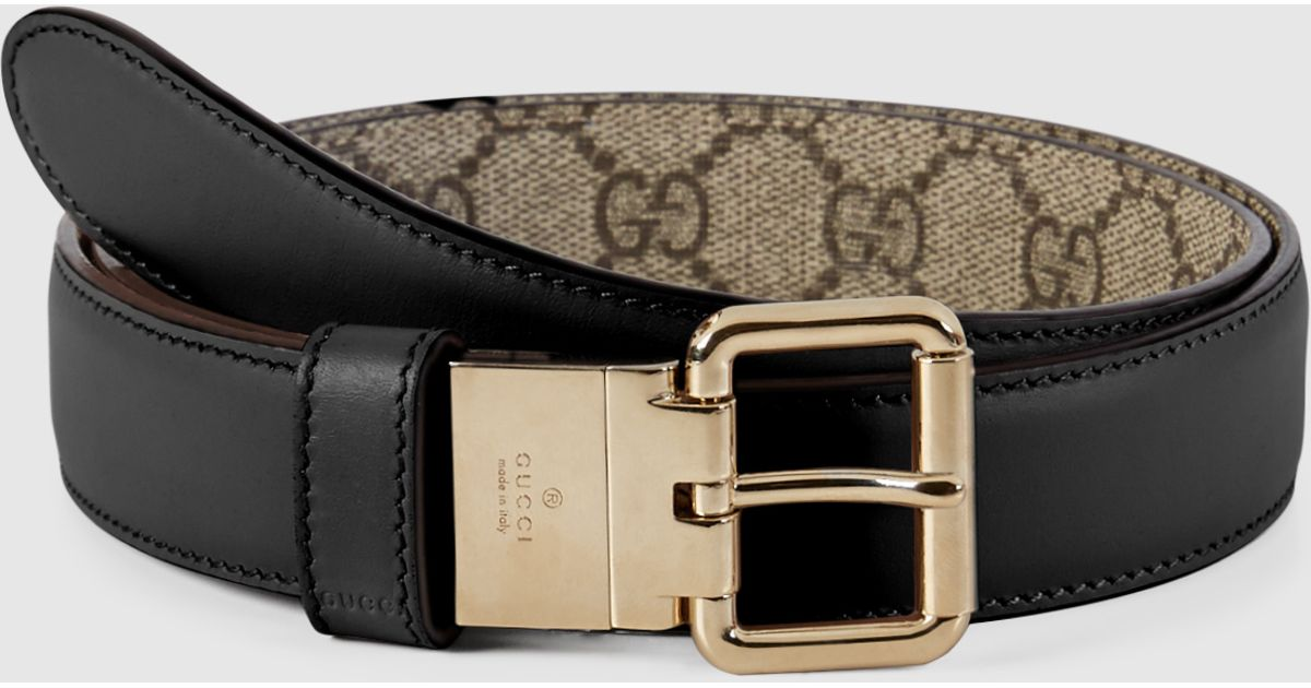 840eda00d0e Lyst Gucci Reversible Leather And Gg Supreme Belt In Black