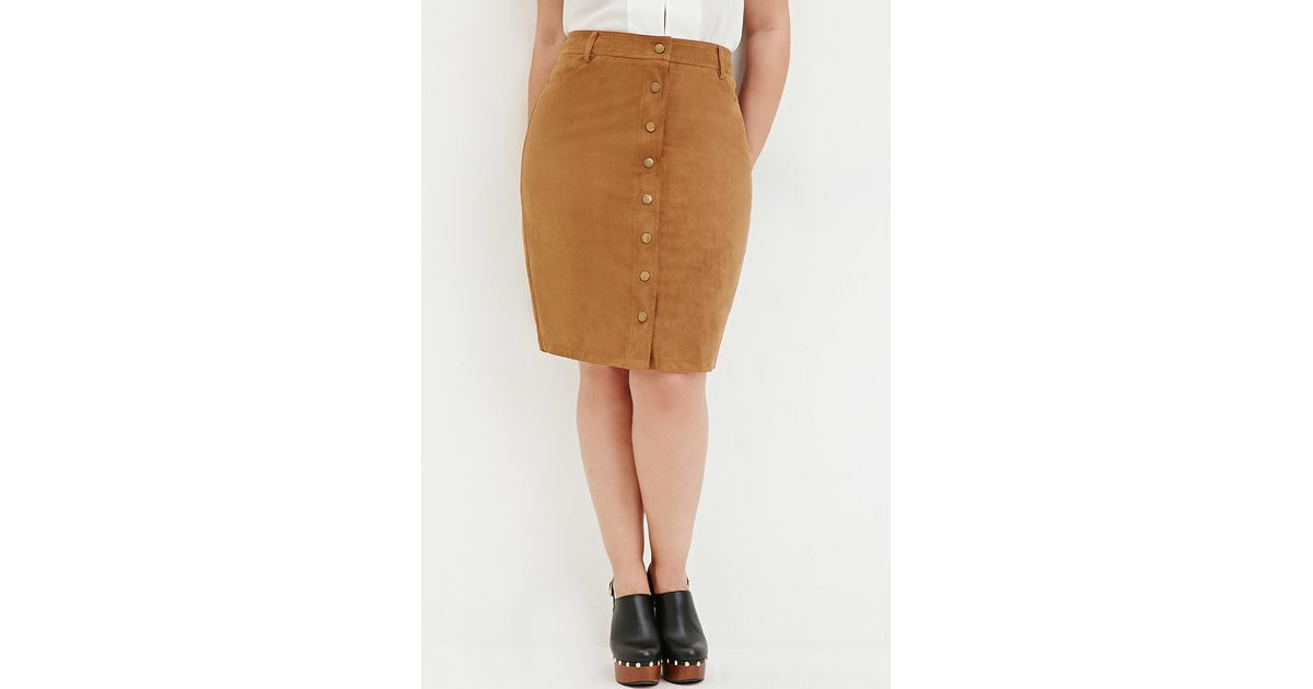 53090943a3bc Forever 21 Plus Size Button-front Faux Suede Skirt in Natural - Lyst