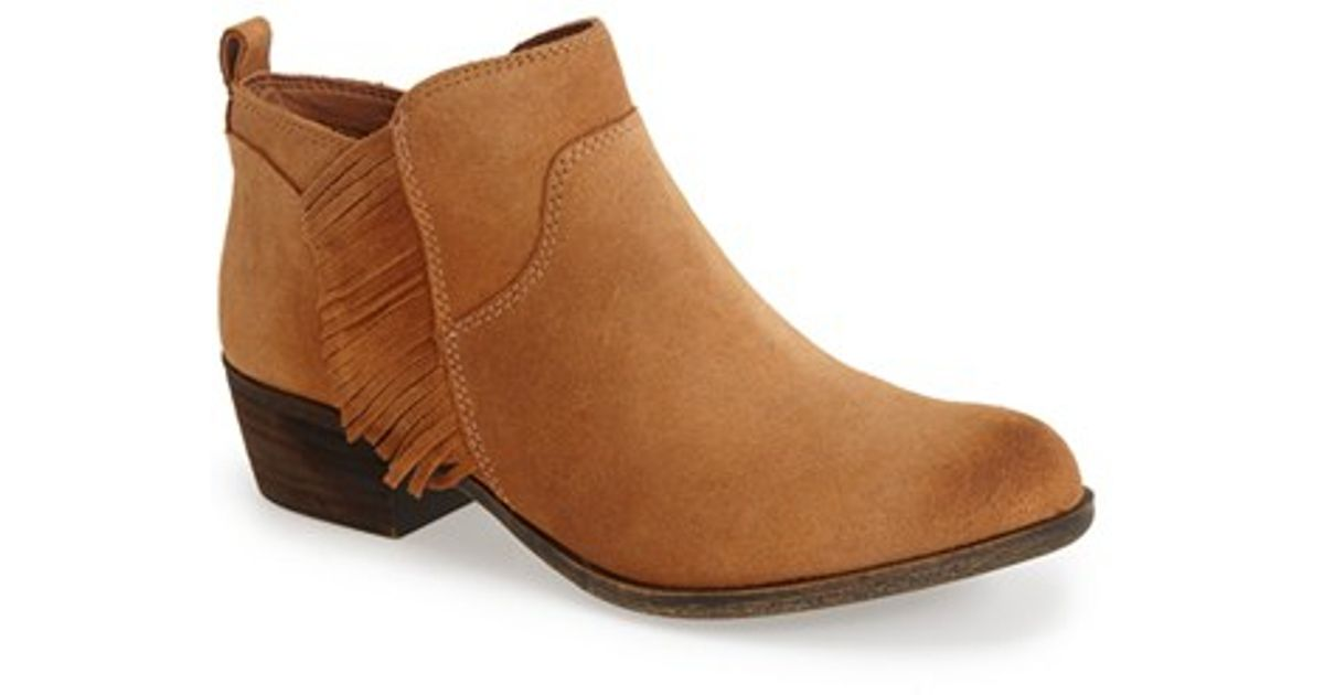 Lucky Brand Banji Fringe Bootie In Brown Aztec Leather