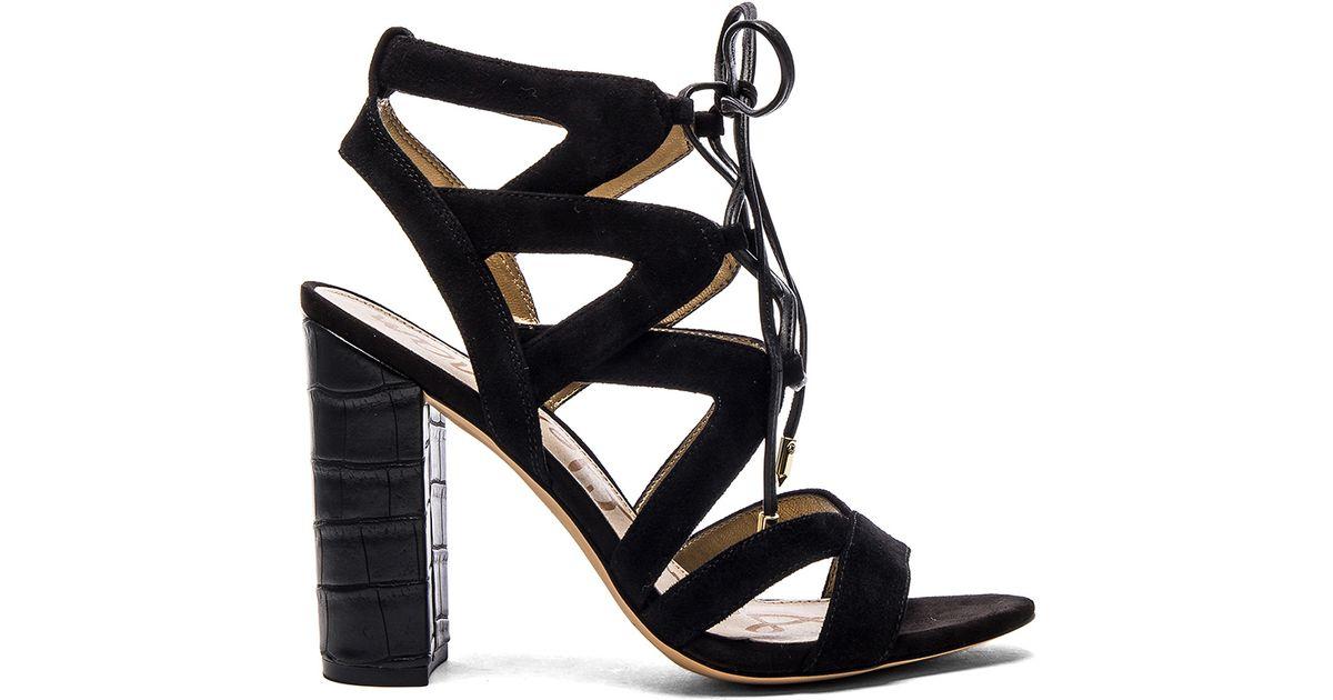 50d5f49c7bb554 Lyst - Sam Edelman Yardley Suede Sandals in Black