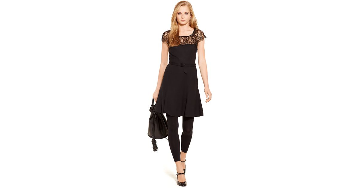 Lyst Polo Ralph Lauren Lace Trim Belted Crepe Dress In Black