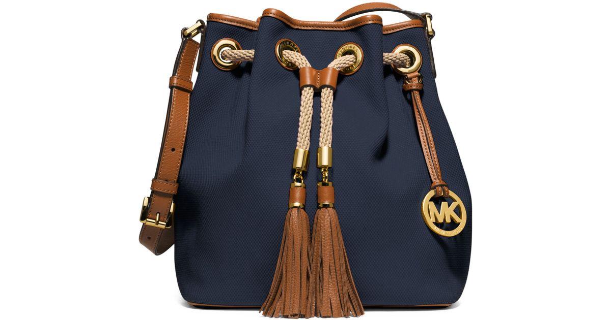 6701249ddec6 Lyst - Michael Kors Marina Large Canvas Shoulder Bag in Blue
