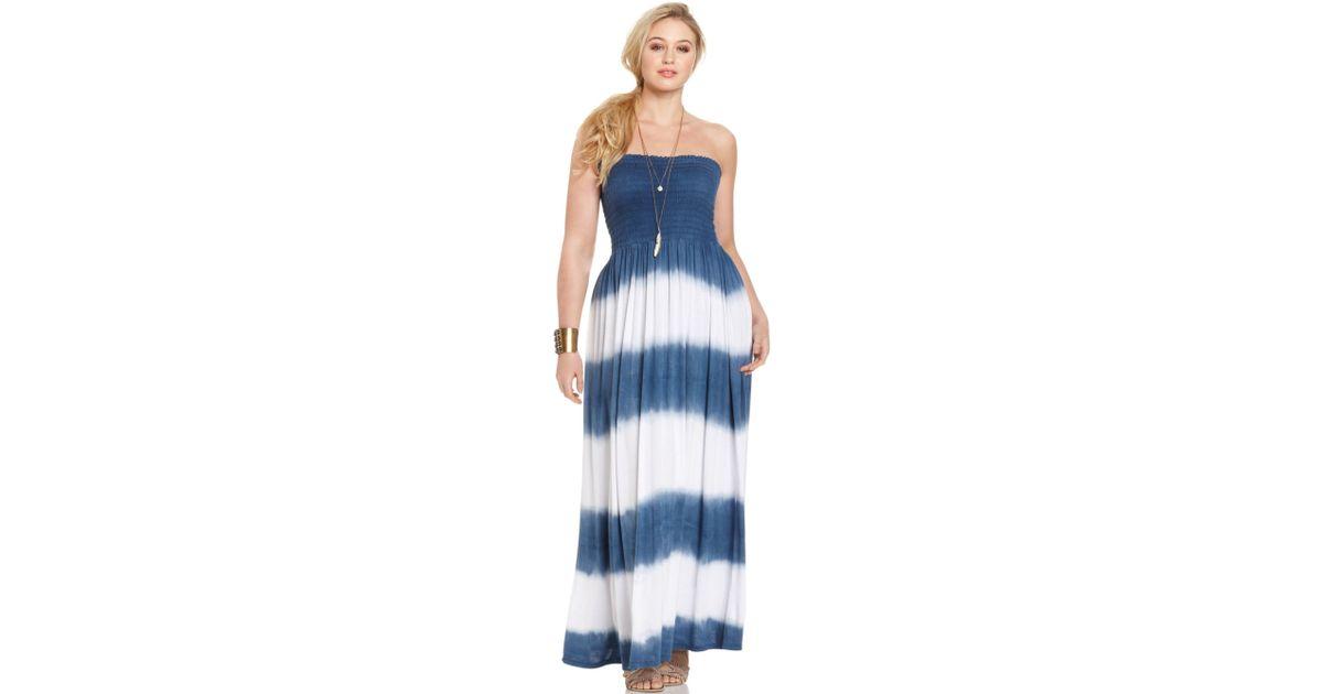 Soprano Plus Size Strapless Tie Dyed Maxi Dress in White - Lyst