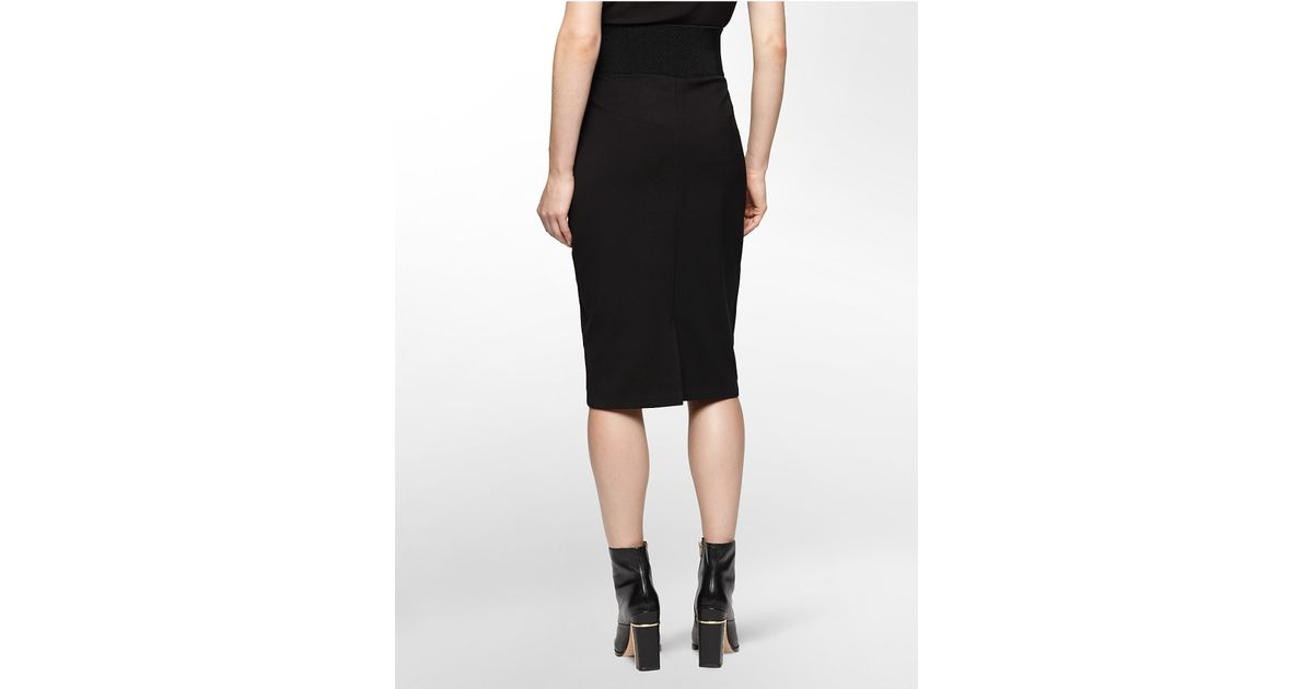 calvin klein faux leather detail pencil skirt in black lyst