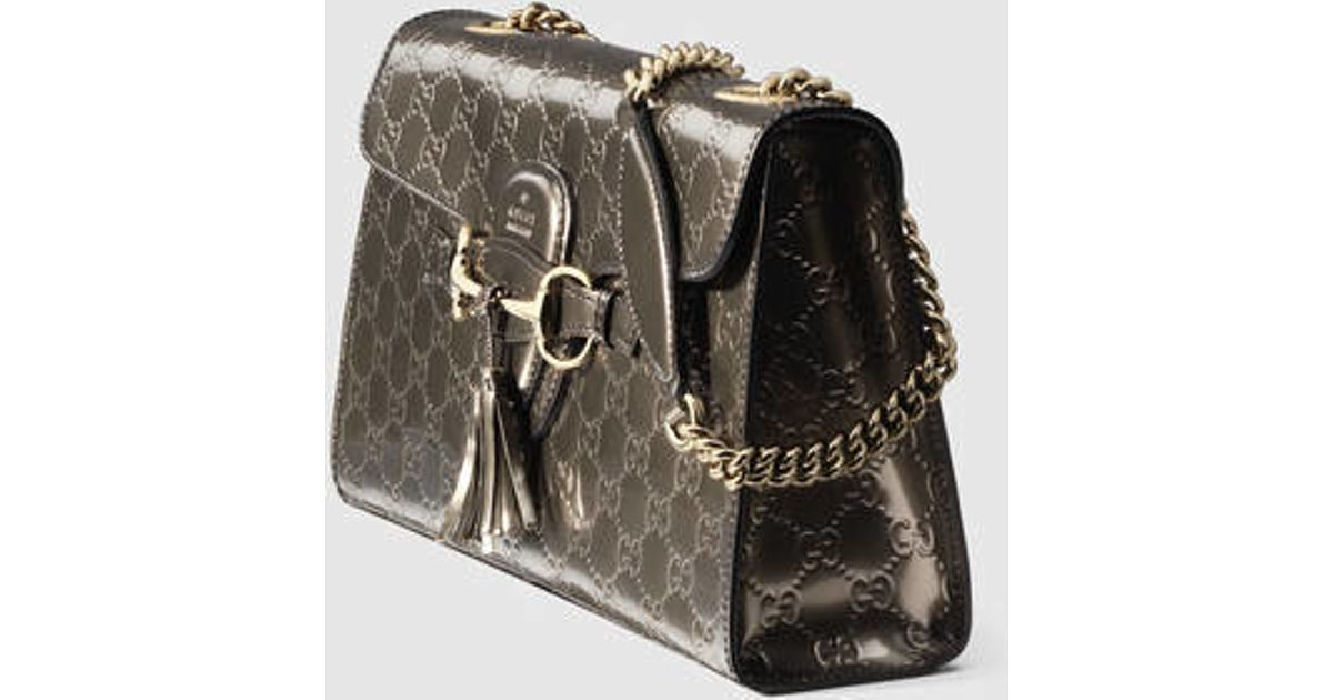 d31bc740a3d Lyst - Gucci Emily Guccissima Chain Shoulder Bag in Gray
