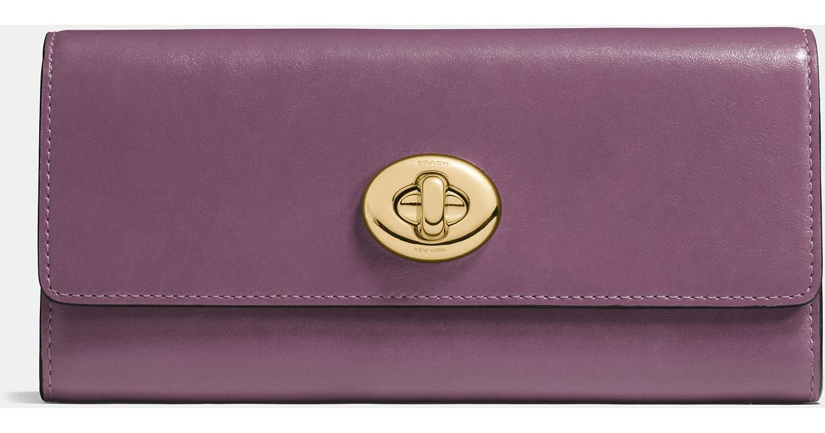 1f5ccf148df6 ... low price lyst coach turnlock slim envelope wallet in smooth leather in  purple b8a8d c78a6