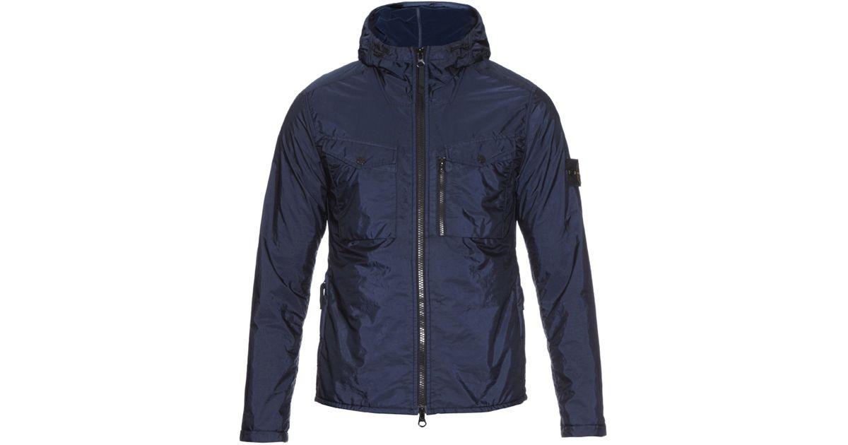 120408188 Stone Island Blue Hooded Zip-fastening Nylon Jacket for men