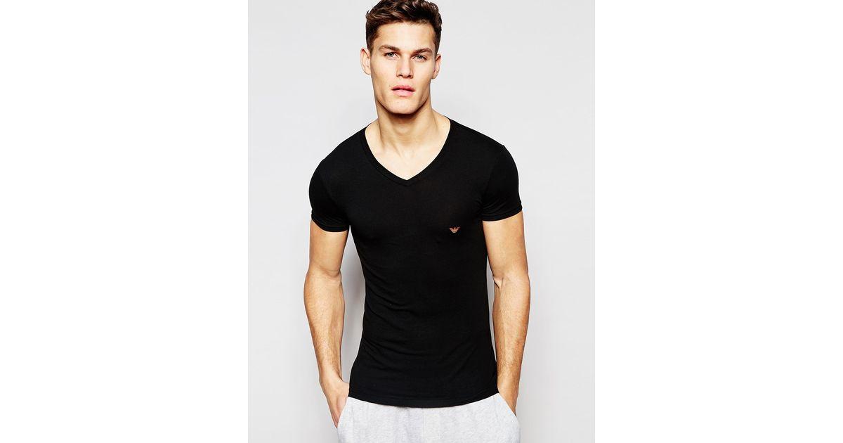 Emporio armani v neck t shirt with metal eagle back print for V neck back shirt