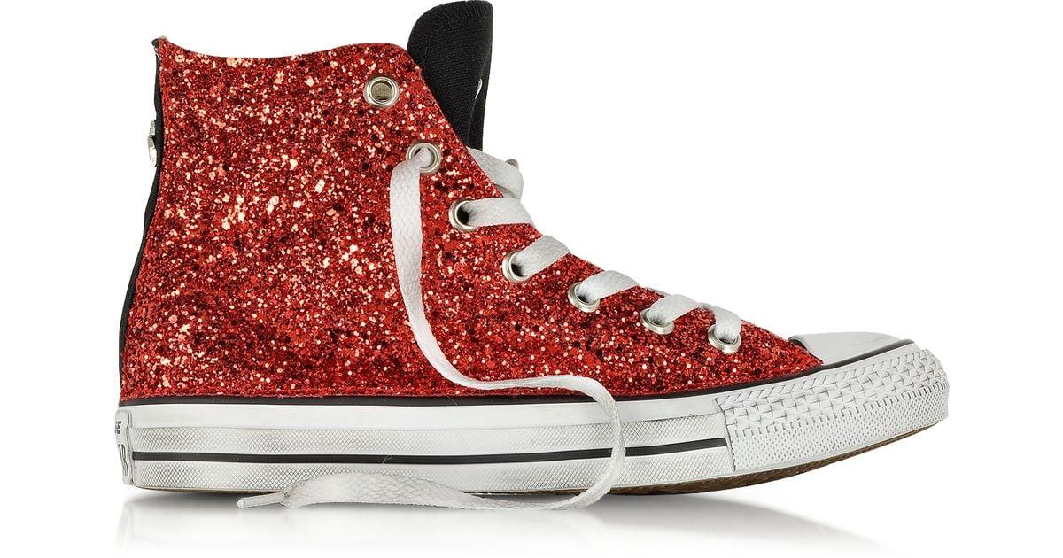 red Glitter Ltd Sneaker - Lyst