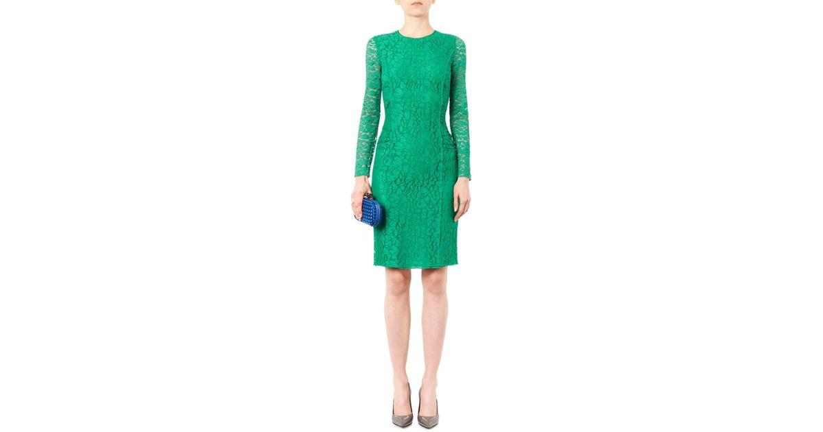 Nina ricci long sleeved lace dress in green lyst