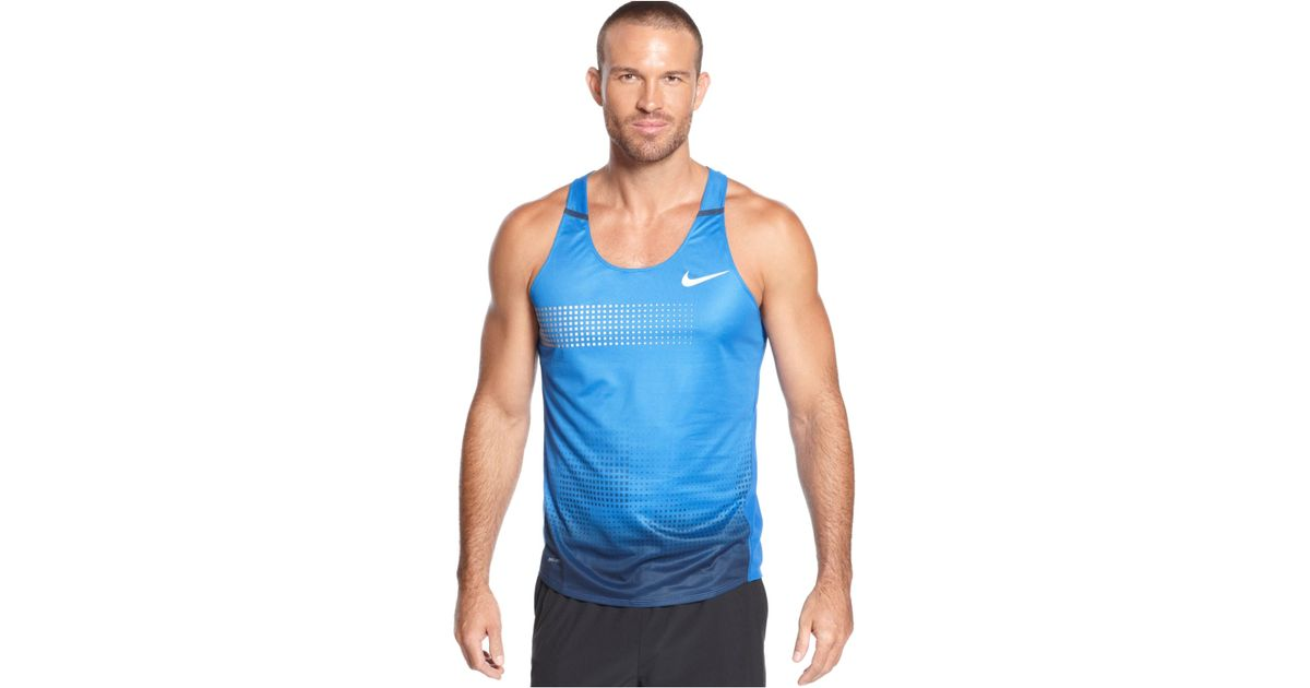 Lyst - Nike Distance Running Singlet Tank in Blue for Men 5b503d683223