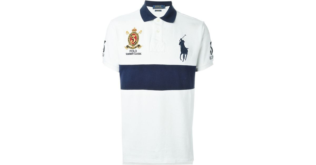 Lyst - Polo Ralph Lauren Embroidered Logo Polo Shirt in White for Men 3f6b91abc88