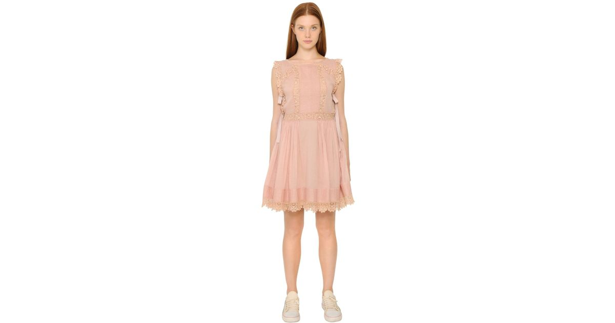 Red Valentino Pink Cotton Voile Crochet Lace Dress