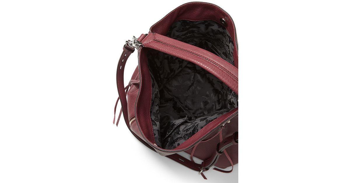 Lyst - Rebecca Minkoff Moto Leather Hobo in Red 28105abbfb1e4