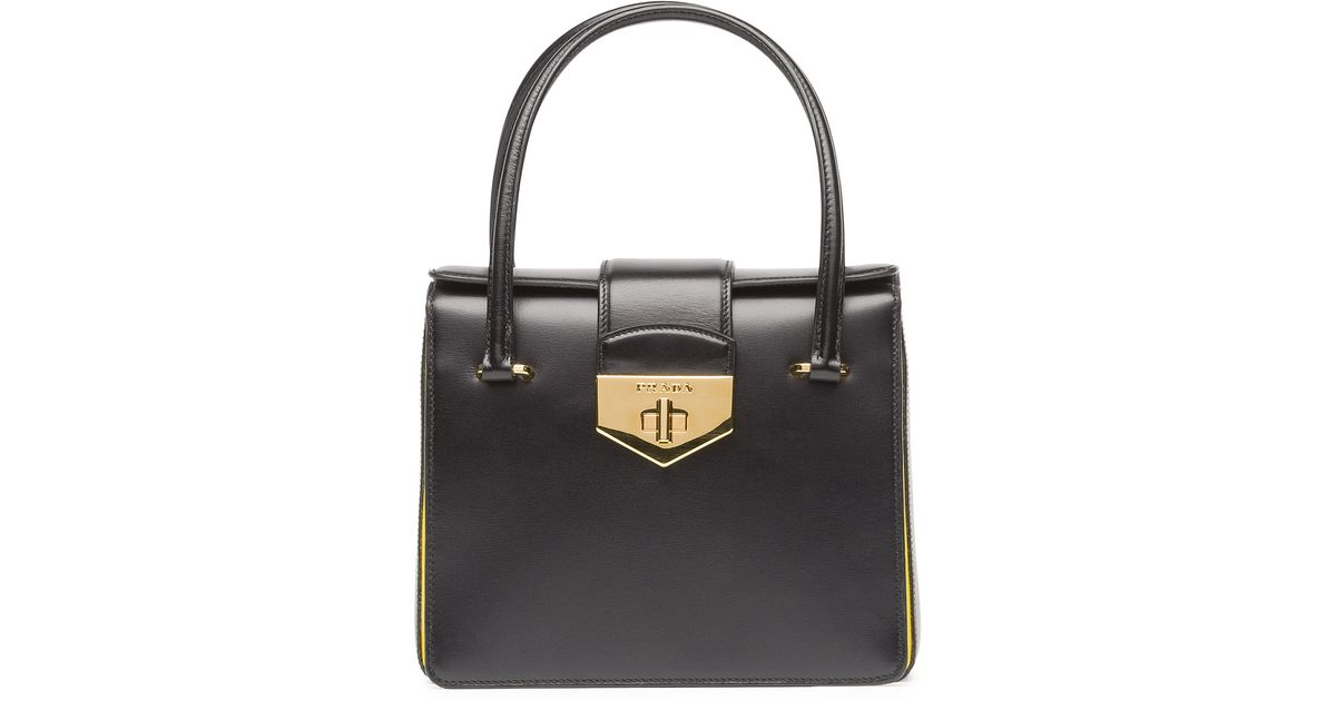 06c59b3d5bc4 ... canada lyst prada box calf bicolor satchel bag in black 8fdd9 d999d