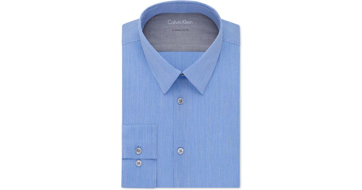 Calvin klein x extra slim fit blue tonal stripe dress for Calvin klein x fit dress shirt