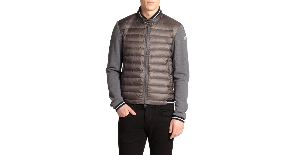 3ce183288750 Lyst - Moncler Down Puffer Cardigan Sweater in Gray for Men
