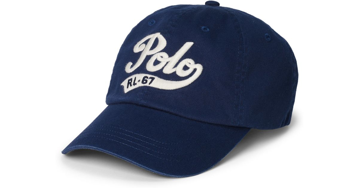 Lyst - Polo Ralph Lauren Embroidered Chino Baseball Cap in Blue for Men c54085b3abe