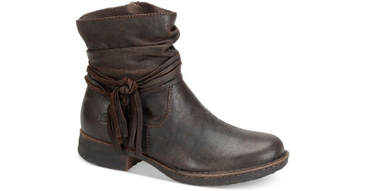Born Leather Cross Tassel Booties in