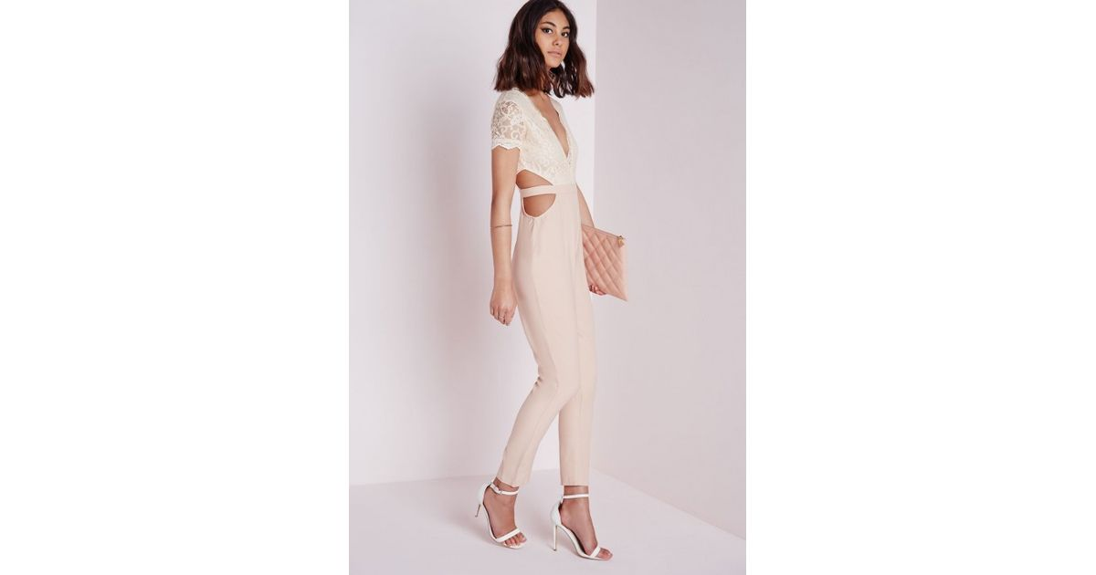 c615c53aed9c Lyst - Missguided Nude Lace Top Cut Out Jumpsuit in Natural
