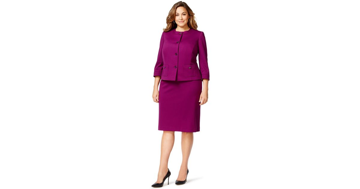 Tahari Purple Plus Size Ponte Turn-key Skirt Suit