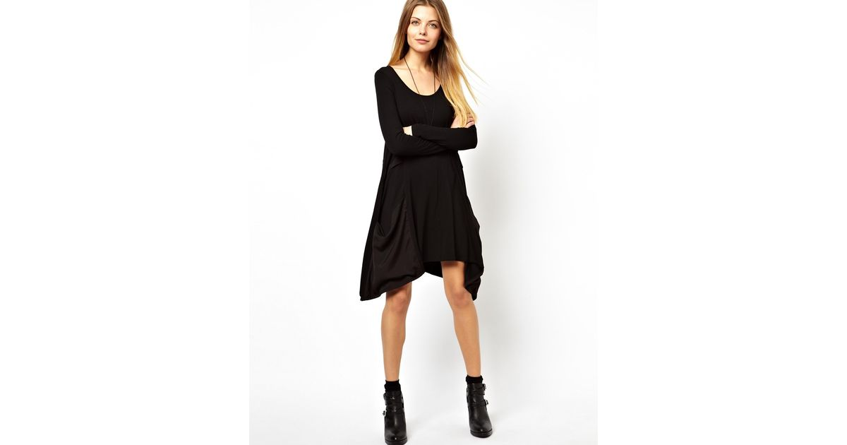 Lyst Asos Swing Dress With Woven Drape Pocket And Long Sleeve In Black