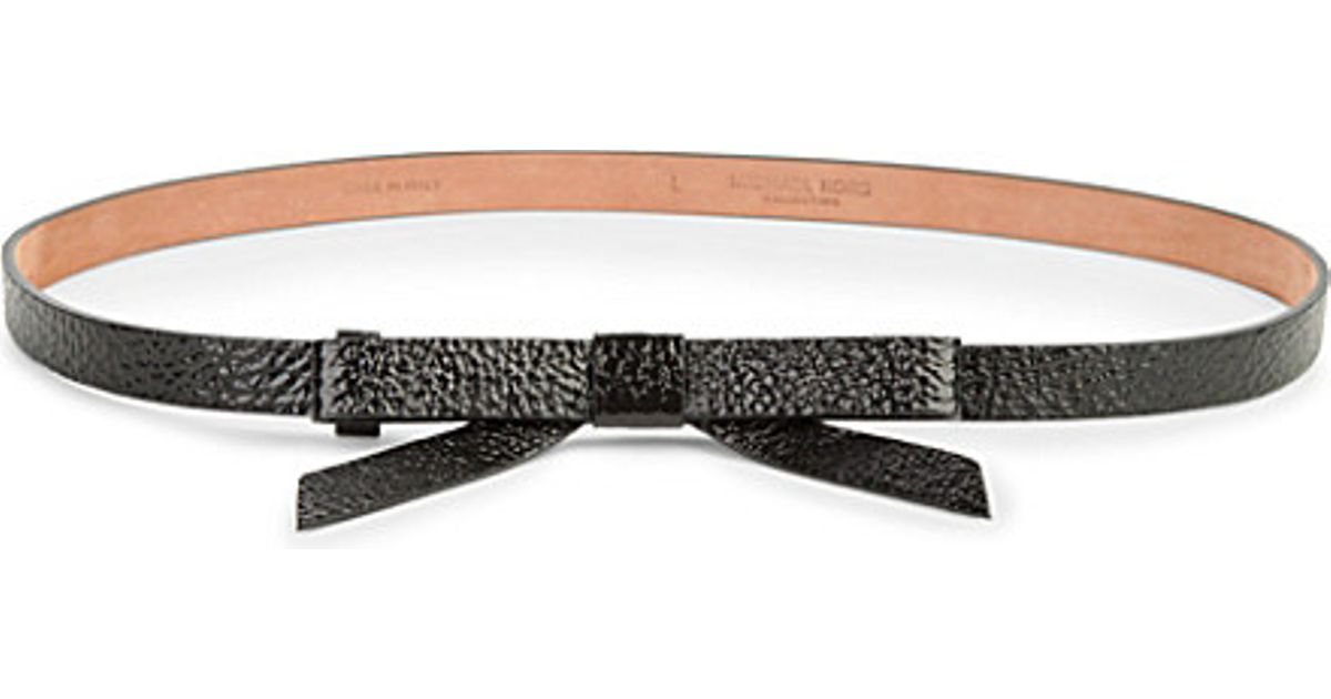 michael kors patent leather bow belt in black lyst